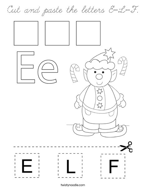 Cut and paste the letters E-L-F. Coloring Page