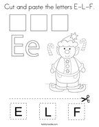Cut and paste the letters E-L-F Coloring Page