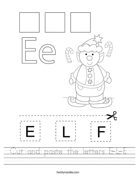 Cut and paste the letters E-L-F. Worksheet