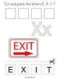 Cut and paste the letters E-X-I-T. Coloring Page