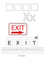 Cut and paste the letters E-X-I-T Handwriting Sheet