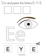 Cut and paste the letters E-Y-E Coloring Page