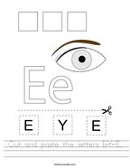 Cut and paste the letters E-Y-E Handwriting Sheet