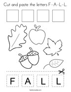Cut and paste the letters F-A-L-L Coloring Page