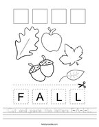 Cut and paste the letters F-A-L-L Handwriting Sheet