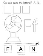 Cut and paste the letters F-A-N Coloring Page