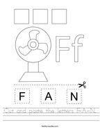 Cut and paste the letters F-A-N Handwriting Sheet