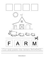 Cut and paste the letters F-A-R-M Handwriting Sheet