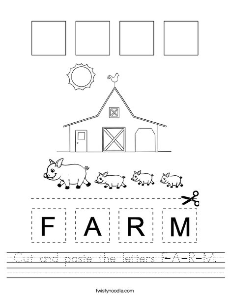 Cut and paste the letters F-A-R-M. Worksheet