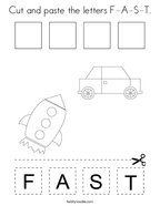 Cut and paste the letters F-A-S-T Coloring Page