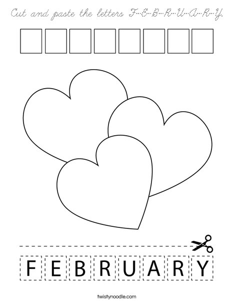 Cut and paste the letters F-E-B-R-U-A-R-Y. Coloring Page