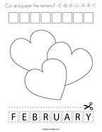 cut and paste the letters f e b r u a r y coloring page png 144x187 q85