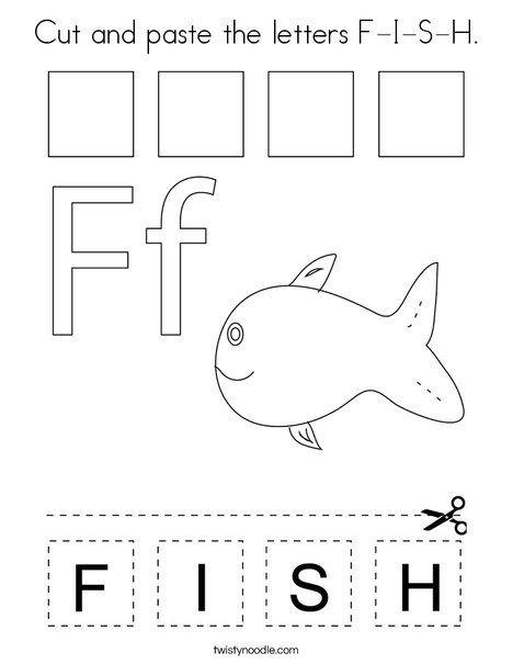 Cut and paste the letters F-I-S-H. Coloring Page