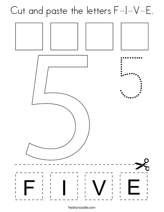 Cut and paste the letters F-I-V-E. Coloring Page