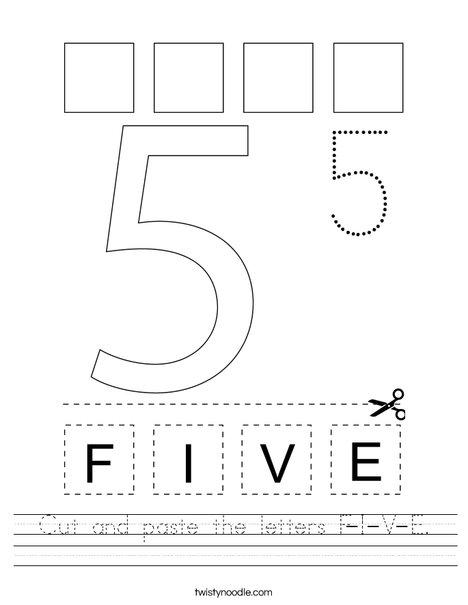 Cut and paste the letters F-I-V-E. Worksheet