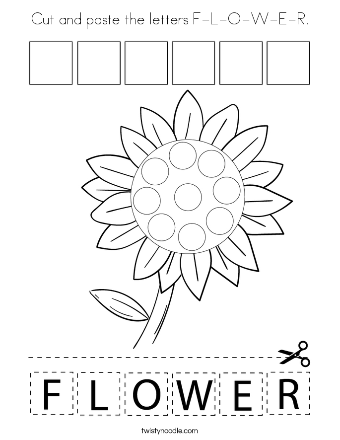 Cut and paste the letters F-L-O-W-E-R. Coloring Page