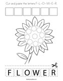 Cut and paste the letters F-L-O-W-E-R Coloring Page