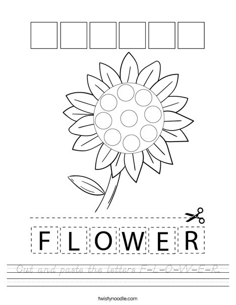Cut and paste the letters F-L-O-W-E-R. Worksheet