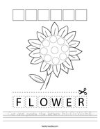 Cut and paste the letters F-L-O-W-E-R Handwriting Sheet
