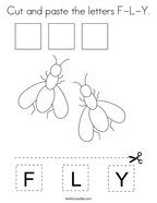 Cut and paste the letters F-L-Y Coloring Page