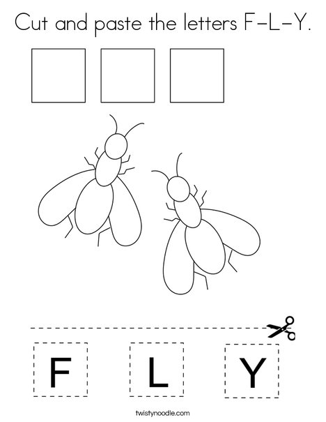 Cut and paste the letters F-L-Y. Coloring Page