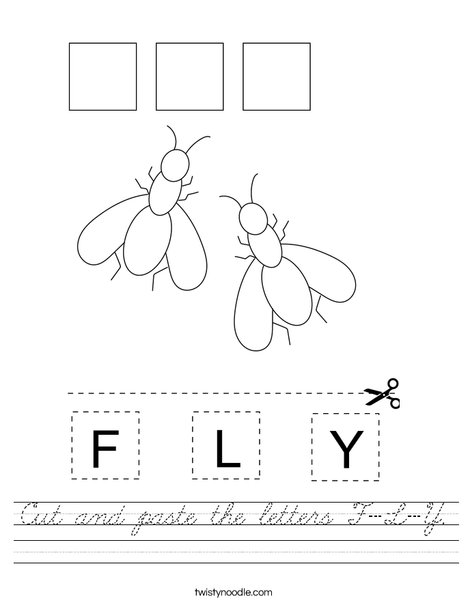 Cut and paste the letters F-L-Y. Worksheet