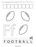 Cut and paste the letters F-O-O-T-B-A-L-L Coloring Page