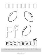 Cut and paste the letters F-O-O-T-B-A-L-L Handwriting Sheet