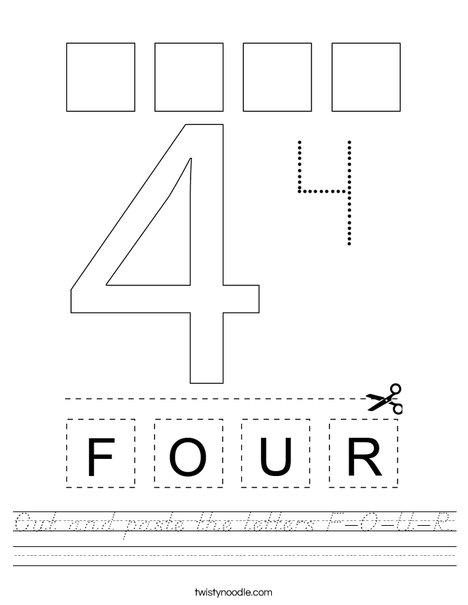 Cut and paste the letters F-O-U-R. Worksheet