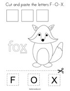 Cut and paste the letters F-O-X Coloring Page