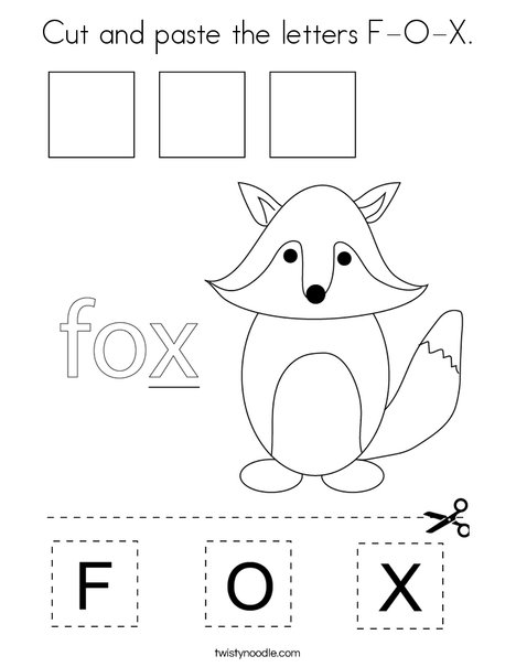 Cut and paste the letters F-O-X. Coloring Page