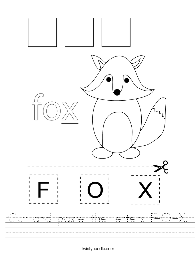 Cut and paste the letters F-O-X. Worksheet