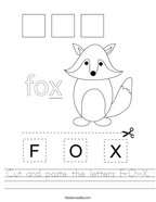 Cut and paste the letters F-O-X Handwriting Sheet