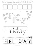 Cut and paste the letters F-R-I-D-A-Y. Coloring Page
