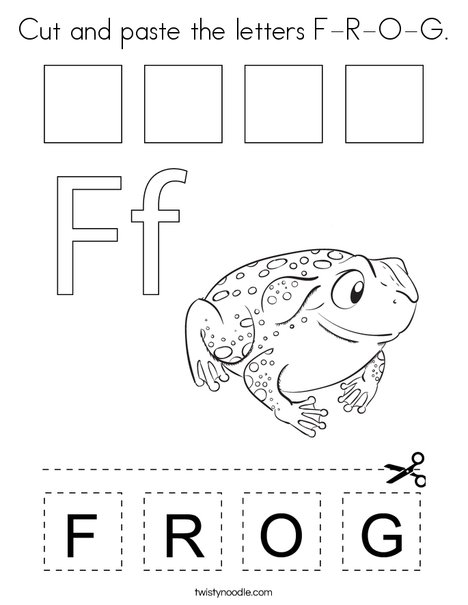 Cut and paste the letters F-R-O-G. Coloring Page