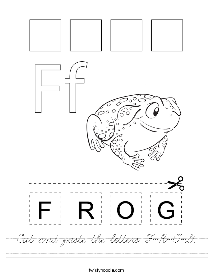 Cut and paste the letters F-R-O-G. Worksheet