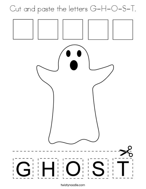 Cut and paste the letters G-H-O-S-T. Coloring Page