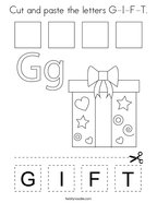 Cut and paste the letters G-I-F-T Coloring Page