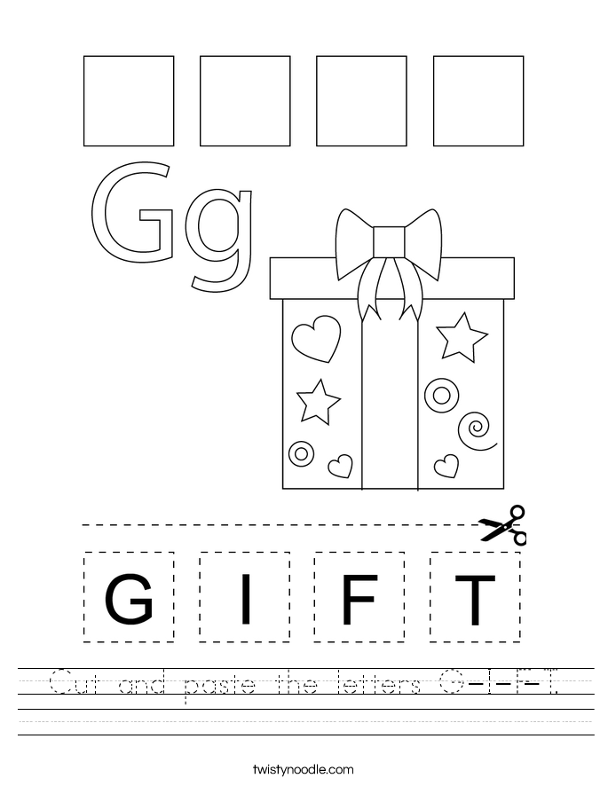 Cut and paste the letters G-I-F-T. Worksheet