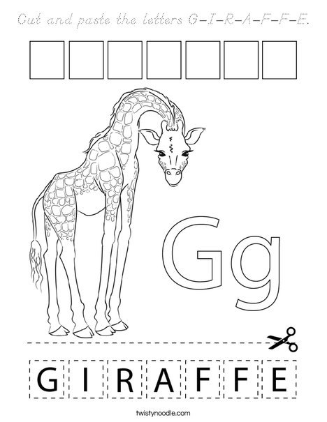Cut and paste the letters G-I-R-A-F-F-E Coloring Page