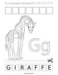 Cut and paste the letters G-I-R-A-F-F-E. Coloring Page