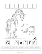 Cut and paste the letters G-I-R-A-F-F-E Handwriting Sheet