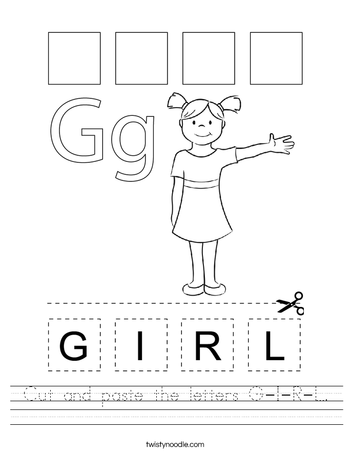 Cut and paste the letters G-I-R-L. Worksheet