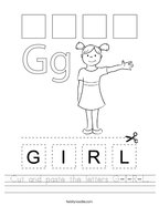 Cut and paste the letters G-I-R-L Handwriting Sheet