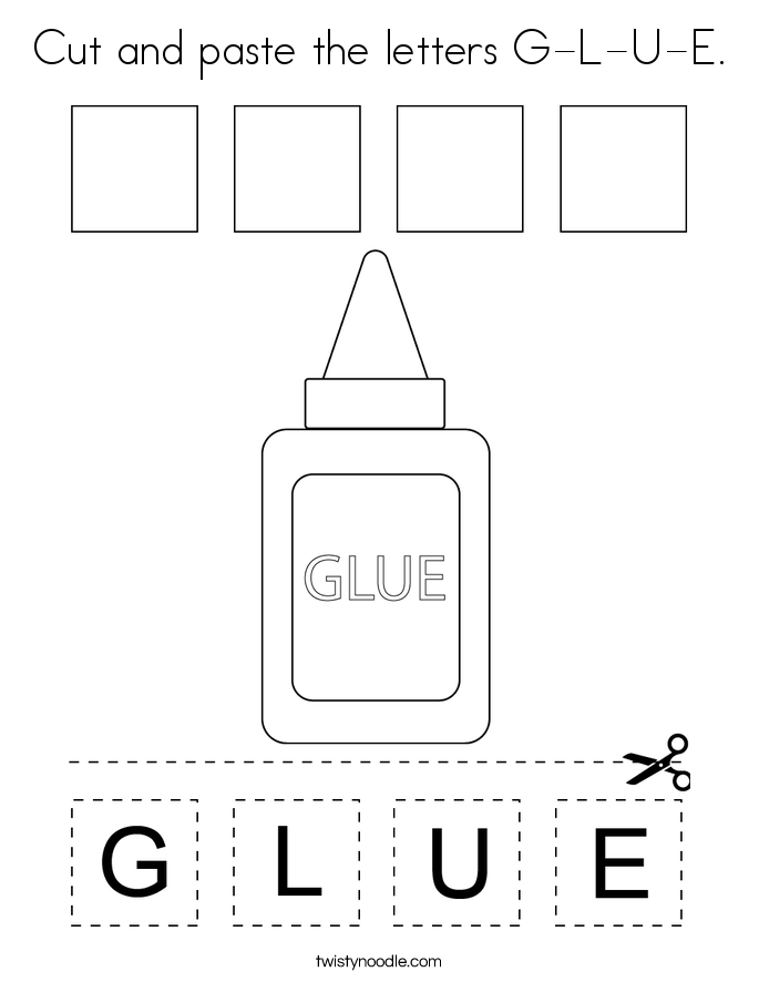 Cut and paste the letters G-L-U-E. Coloring Page