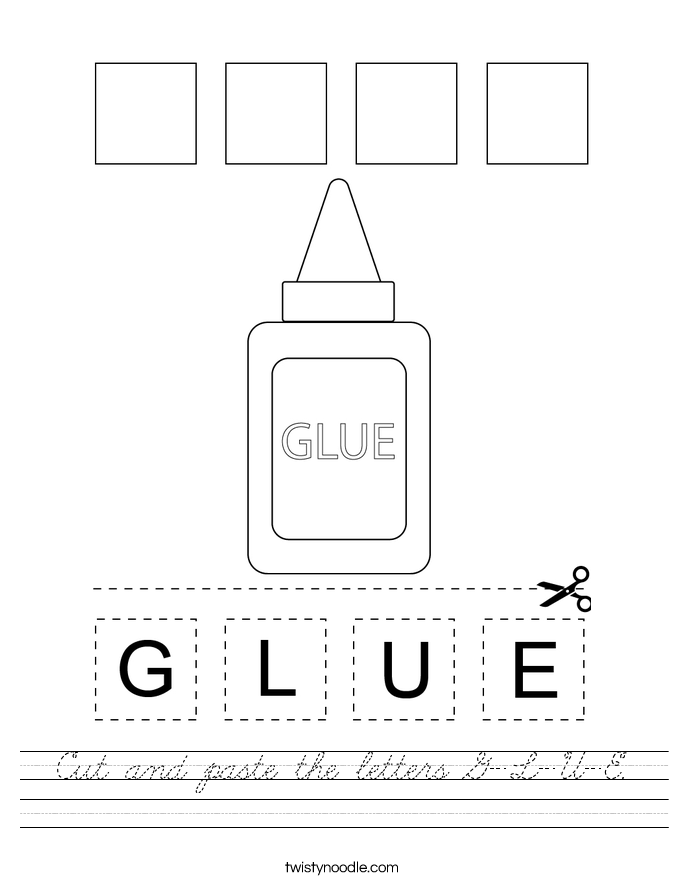 Cut and paste the letters G-L-U-E. Worksheet