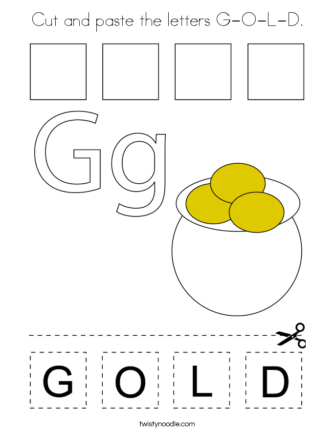 Cut and paste the letters G-O-L-D. Coloring Page