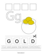 Cut and paste the letters G-O-L-D Handwriting Sheet