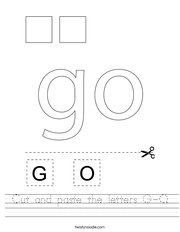 Cut and paste the letters G-O Handwriting Sheet