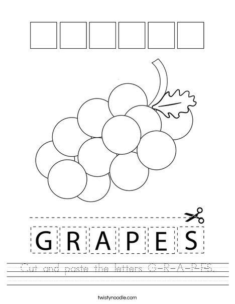 Cut and paste the letters G-R-A-P-E-S. Worksheet